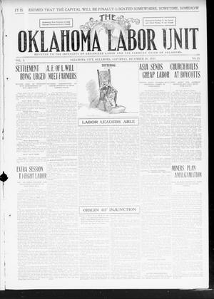 Primary view of object titled 'The Oklahoma Labor Unit (Oklahoma City, Okla.), Vol. 2, No. 25, Ed. 1 Saturday, December 10, 1910'.