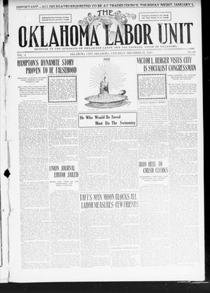 Primary view of object titled 'The Oklahoma Labor Unit (Oklahoma City, Okla.), Vol. 2, No. 28, Ed. 1 Saturday, December 31, 1910'.