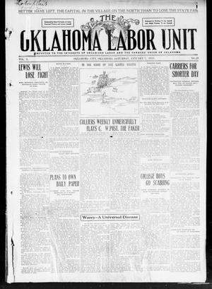 Primary view of object titled 'The Oklahoma Labor Unit (Oklahoma City, Okla.), Vol. 2, No. 29, Ed. 1 Saturday, January 7, 1911'.