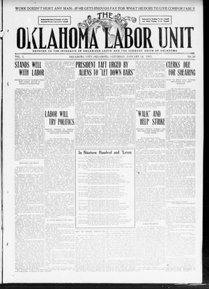 Primary view of object titled 'The Oklahoma Labor Unit (Oklahoma City, Okla.), Vol. 2, No. 30, Ed. 1 Saturday, January 14, 1911'.