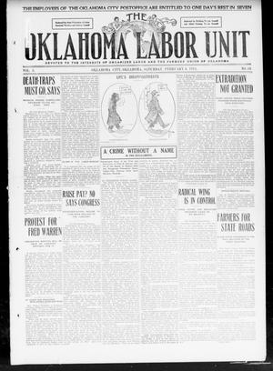 Primary view of object titled 'The Oklahoma Labor Unit (Oklahoma City, Okla.), Vol. 2, No. 34, Ed. 1 Saturday, February 4, 1911'.