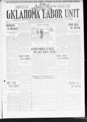 Primary view of object titled 'The Oklahoma Labor Unit (Oklahoma City, Okla.), Vol. 2, No. 36, Ed. 1 Saturday, February 18, 1911'.
