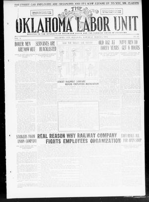 Primary view of object titled 'The Oklahoma Labor Unit (Oklahoma City, Okla.), Vol. 2, No. 38, Ed. 1 Saturday, March 4, 1911'.