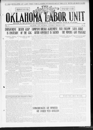 Primary view of object titled 'The Oklahoma Labor Unit (Oklahoma City, Okla.), Vol. 2, No. 39, Ed. 1 Saturday, March 11, 1911'.