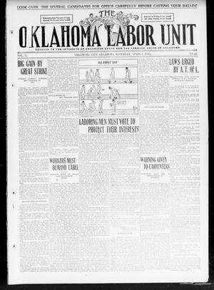 Primary view of object titled 'The Oklahoma Labor Unit (Oklahoma City, Okla.), Vol. 2, No. 42, Ed. 1 Saturday, April 1, 1911'.