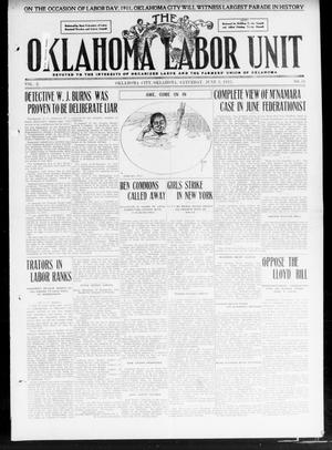 Primary view of object titled 'The Oklahoma Labor Unit (Oklahoma City, Okla.), Vol. 2, No. 51, Ed. 1 Saturday, June 3, 1911'.