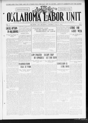 Primary view of object titled 'The Oklahoma Labor Unit (Oklahoma City, Okla.), Vol. 3, No. 1, Ed. 1 Saturday, June 17, 1911'.