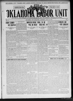 Primary view of object titled 'The Oklahoma Labor Unit (Oklahoma City, Okla.), Vol. 3, No. 7, Ed. 1 Saturday, July 22, 1911'.