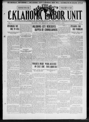 Primary view of object titled 'The Oklahoma Labor Unit (Oklahoma City, Okla.), Vol. 3, No. 9, Ed. 1 Saturday, August 5, 1911'.