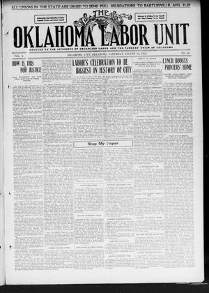 The Oklahoma Labor Unit (Oklahoma City, Okla.), Vol. 3, No. 10, Ed. 1 Saturday, August 12, 1911