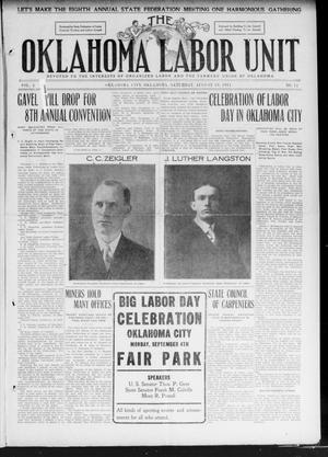 Primary view of object titled 'The Oklahoma Labor Unit (Oklahoma City, Okla.), Vol. 3, No. 11, Ed. 1 Saturday, August 19, 1911'.