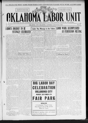 Primary view of object titled 'The Oklahoma Labor Unit (Oklahoma City, Okla.), Vol. 3, No. 12, Ed. 1 Saturday, August 26, 1911'.