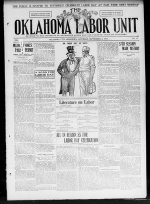 The Oklahoma Labor Unit (Oklahoma City, Okla.), Vol. 3, No. 13, Ed. 1 Saturday, September 2, 1911