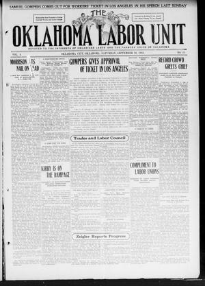 Primary view of object titled 'The Oklahoma Labor Unit (Oklahoma City, Okla.), Vol. 3, No. 15, Ed. 1 Saturday, September 16, 1911'.