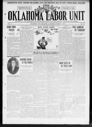 Primary view of object titled 'The Oklahoma Labor Unit (Oklahoma City, Okla.), Vol. 3, No. 18, Ed. 1 Saturday, October 7, 1911'.