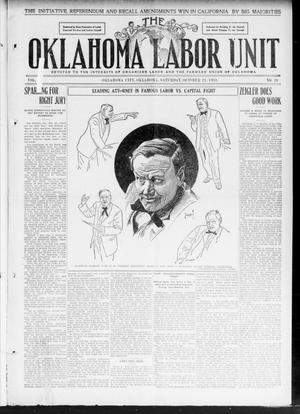 Primary view of object titled 'The Oklahoma Labor Unit (Oklahoma City, Okla.), Vol. 3, No. 20, Ed. 1 Saturday, October 21, 1911'.