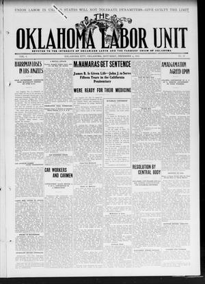 Primary view of object titled 'The Oklahoma Labor Unit (Oklahoma City, Okla.), Vol. 3, No. 27, Ed. 1 Saturday, December 9, 1911'.