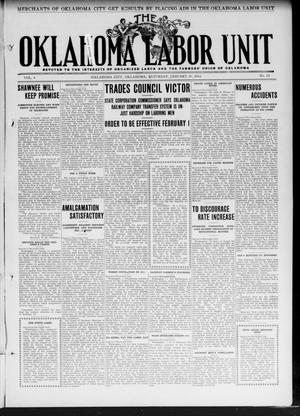 Primary view of object titled 'The Oklahoma Labor Unit (Oklahoma City, Okla.), Vol. 3, No. 33, Ed. 1 Saturday, January 20, 1912'.