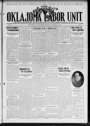 Primary view of object titled 'The Oklahoma Labor Unit (Oklahoma City, Okla.), Vol. 3, No. 34, Ed. 1 Saturday, January 27, 1912'.