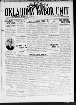 Primary view of object titled 'The Oklahoma Labor Unit (Oklahoma City, Okla.), Vol. 3, No. 40, Ed. 1 Saturday, March 9, 1912'.