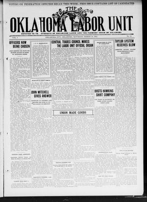 Primary view of object titled 'The Oklahoma Labor Unit (Oklahoma City, Okla.), Vol. 3, No. 42, Ed. 1 Saturday, March 23, 1912'.