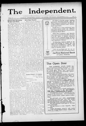Primary view of object titled 'The Independent. (Cashion, Okla.), Vol. 5, No. 34, Ed. 1 Thursday, December 26, 1912'.