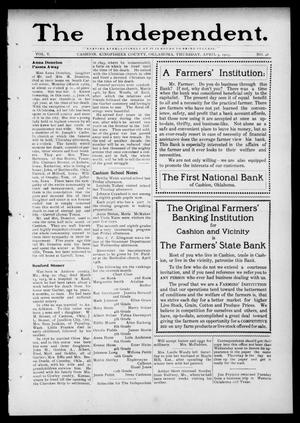 Primary view of object titled 'The Independent. (Cashion, Okla.), Vol. 5, No. 48, Ed. 1 Thursday, April 3, 1913'.
