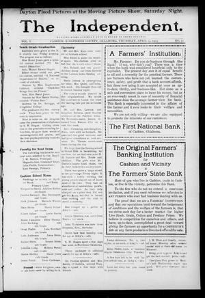 Primary view of object titled 'The Independent. (Cashion, Okla.), Vol. 5, No. 51, Ed. 1 Thursday, April 24, 1913'.