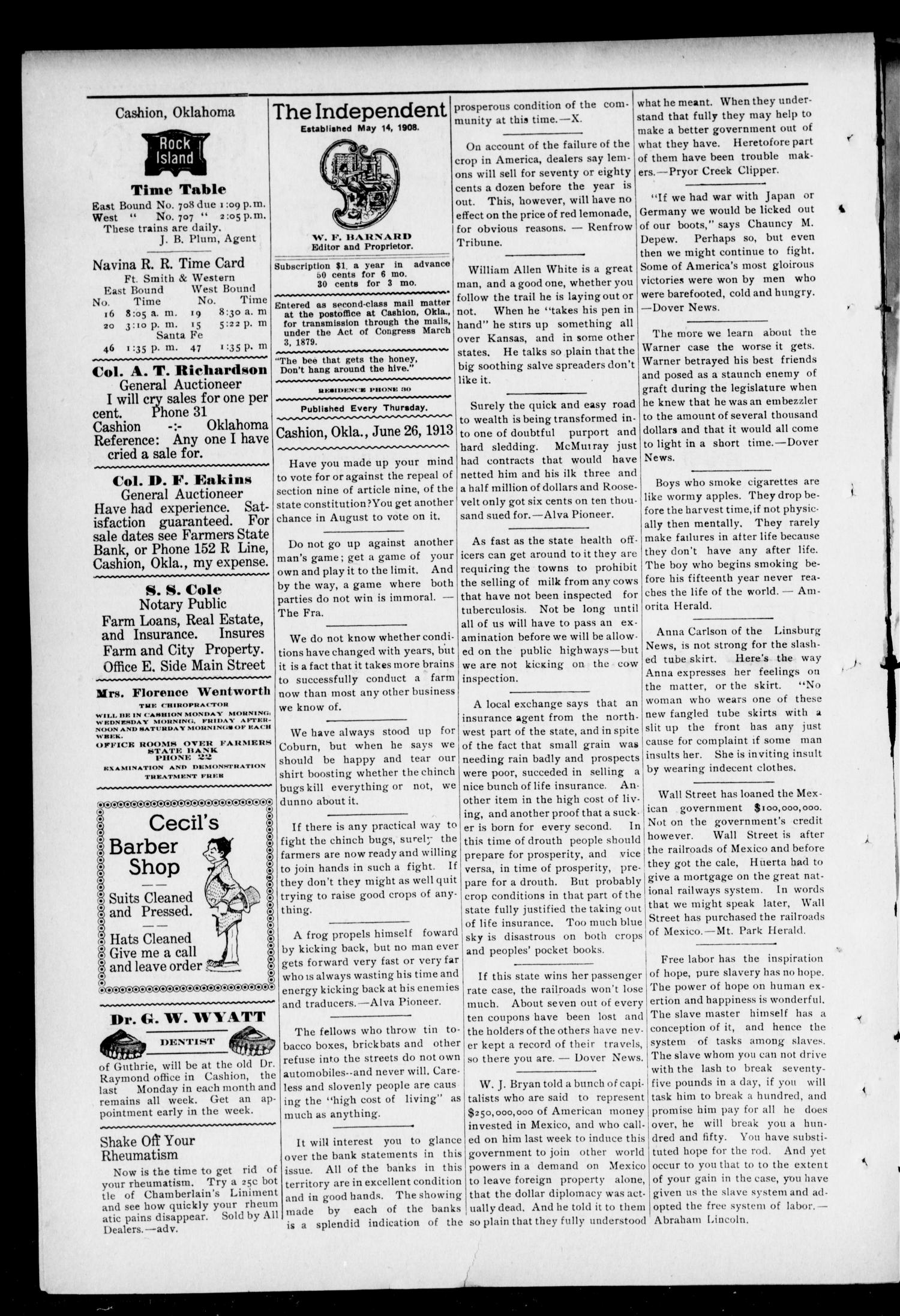 The Independent. (Cashion, Okla.), Vol. 6, No. 8, Ed. 1 Thursday, June 26, 1913                                                                                                      [Sequence #]: 2 of 6