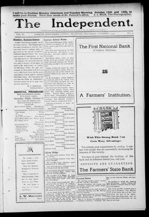 Primary view of object titled 'The Independent. (Cashion, Okla.), Vol. 6, No. 23, Ed. 1 Thursday, October 9, 1913'.