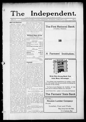 Primary view of object titled 'The Independent. (Cashion, Okla.), Vol. 6, No. 40, Ed. 1 Thursday, February 5, 1914'.