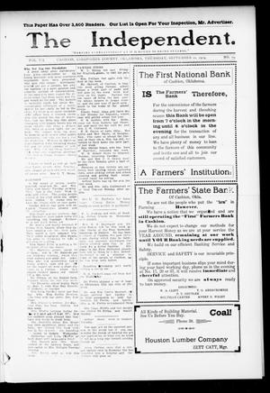 Primary view of object titled 'The Independent. (Cashion, Okla.), Vol. 7, No. 19, Ed. 1 Thursday, September 10, 1914'.