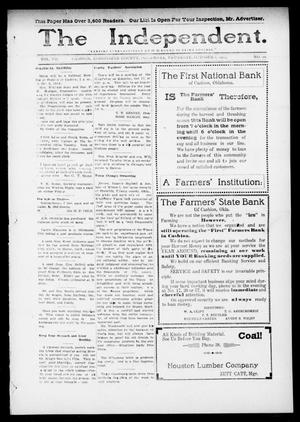 Primary view of object titled 'The Independent. (Cashion, Okla.), Vol. 7, No. 22, Ed. 1 Thursday, October 1, 1914'.