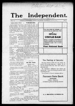 Primary view of object titled 'The Independent. (Cashion, Okla.), Vol. 9, No. 36, Ed. 1 Thursday, January 4, 1917'.