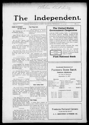Primary view of object titled 'The Independent. (Cashion, Okla.), Vol. 10, No. 24, Ed. 1 Thursday, October 4, 1917'.