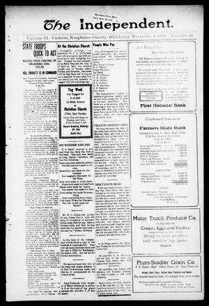 Primary view of The Independent. (Cashion, Okla.), Vol. 12, No. 28, Ed. 1 Thursday, November 6, 1919