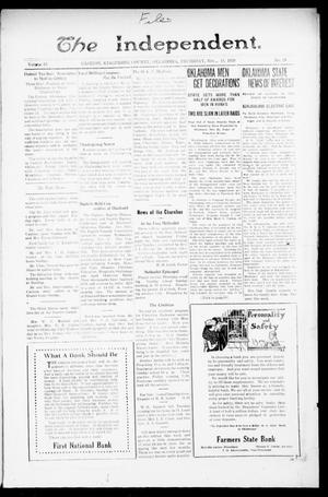 Primary view of object titled 'The Independent. (Cashion, Okla.), Vol. 13, No. 28, Ed. 1 Thursday, November 18, 1920'.