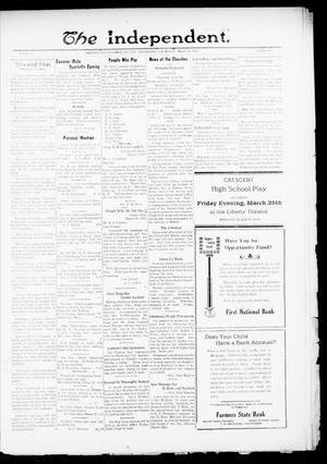 Primary view of object titled 'The Independent. (Cashion, Okla.), Vol. 13, No. 46, Ed. 1 Thursday, March 24, 1921'.