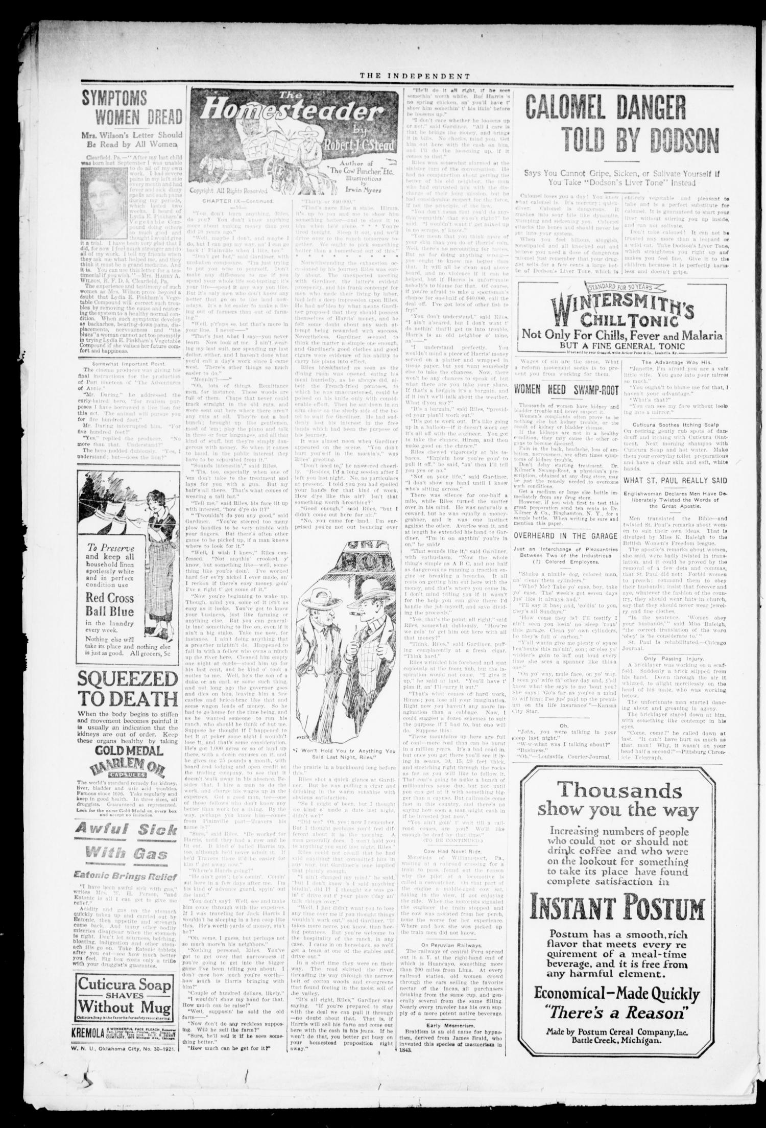 The Independent. (Cashion, Okla.), Vol. 14, No. 12, Ed. 1 Thursday, July 28, 1921                                                                                                      [Sequence #]: 2 of 8