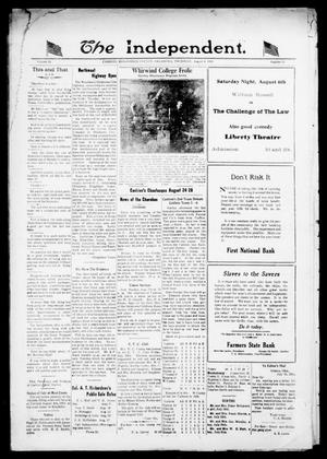 Primary view of object titled 'The Independent. (Cashion, Okla.), Vol. 14, No. 13, Ed. 1 Thursday, August 4, 1921'.