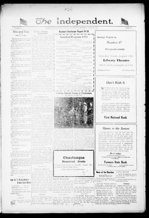 Primary view of object titled 'The Independent. (Cashion, Okla.), Vol. 14, No. 14, Ed. 1 Thursday, August 11, 1921'.