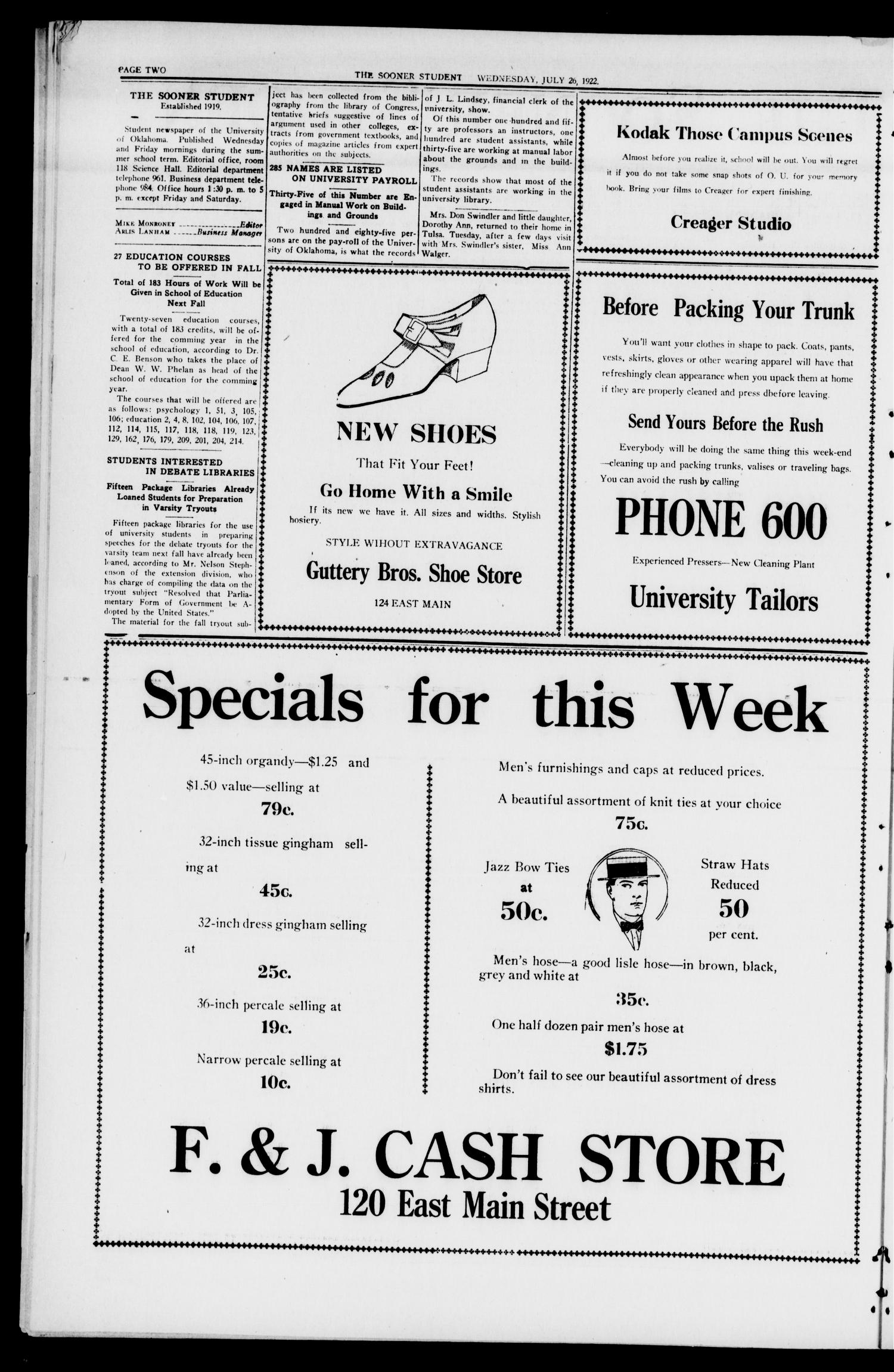 The Sooner Student (Norman, Okla.), Vol. 3, No. 14, Ed. 1 Wednesday, July 26, 1922                                                                                                      [Sequence #]: 2 of 4