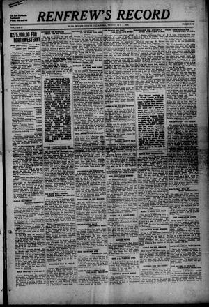 Primary view of object titled 'Renfrew's Record (Alva, Okla.), Vol. 19, No. 49, Ed. 1 Friday, October 1, 1920'.