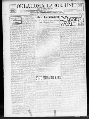 Oklahoma Labor Unit (Oklahoma City, Okla.), Vol. 1, No. 34, Ed. 1 Saturday, February 6, 1909