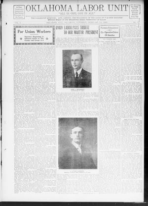 Oklahoma Labor Unit (Oklahoma City, Okla.), Vol. 1, No. 35, Ed. 1 Saturday, February 13, 1909