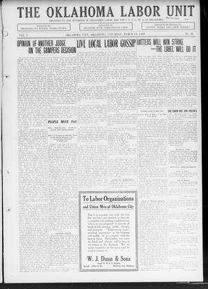 The Oklahoma Labor Unit (Oklahoma City, Okla.), Vol. 1, No. 38, Ed. 1 Saturday, March 13, 1909