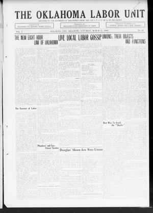 Primary view of object titled 'The Oklahoma Labor Unit (Oklahoma City, Okla.), Vol. 1, No. 40, Ed. 1 Saturday, March 27, 1909'.