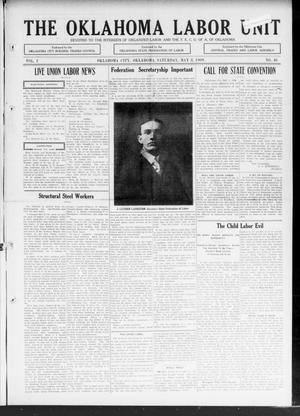 The Oklahoma Labor Unit (Oklahoma City, Okla.), Vol. 1, No. 46, Ed. 1 Saturday, May 8, 1909