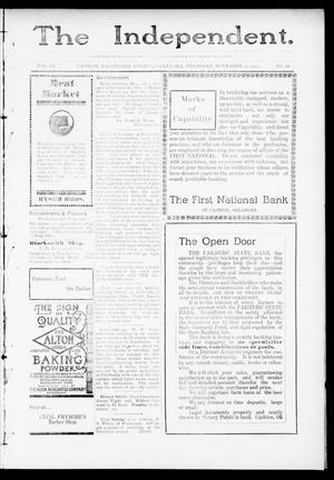 Primary view of object titled 'The Independent. (Cashion, Okla.), Vol. 3, No. 28, Ed. 1 Thursday, November 17, 1910'.
