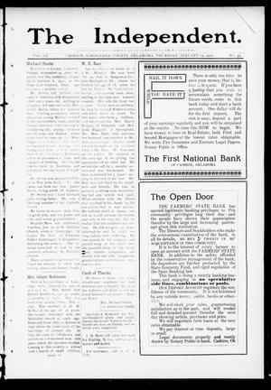 Primary view of object titled 'The Independent. (Cashion, Okla.), Vol. 3, No. 37, Ed. 1 Thursday, January 19, 1911'.